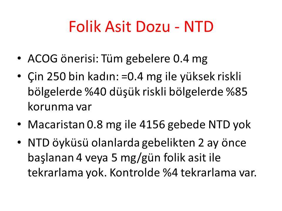 Folik Asit Dozu - NTD ACOG önerisi: Tüm gebelere 0.4 mg