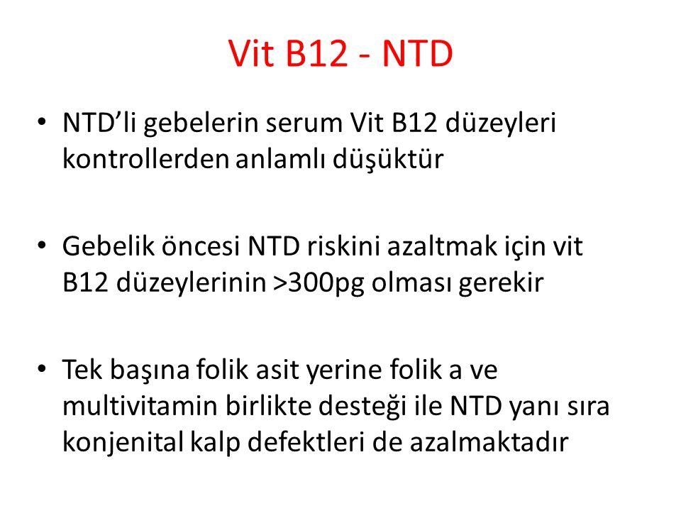 Vit B12 - NTD NTD'li gebelerin serum Vit B12 düzeyleri kontrollerden anlamlı düşüktür.