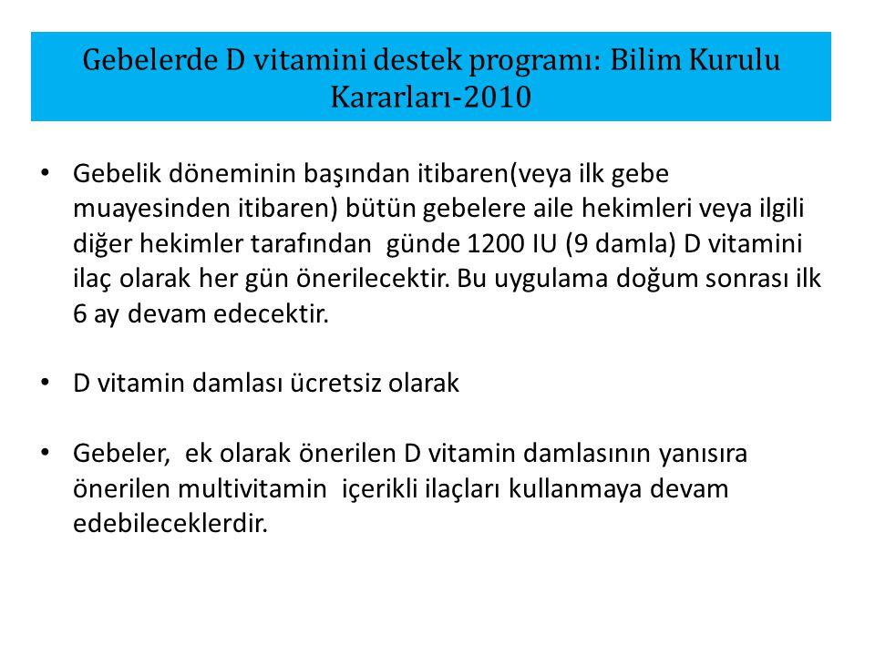 Gebelerde D vitamini destek programı: Bilim Kurulu Kararları-2010