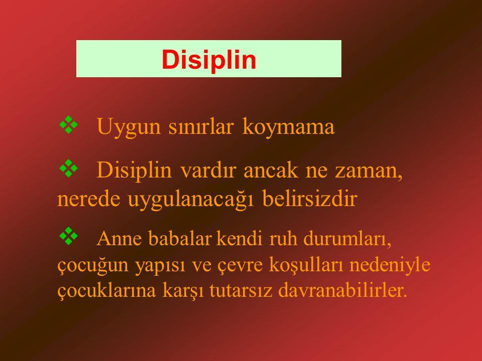 Disiplin Uygun sınırlar koymama