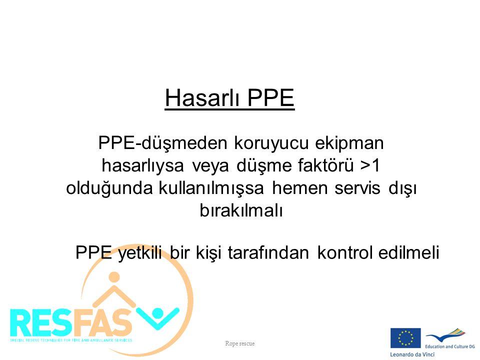Hasarlı PPE PPE-düşmeden koruyucu ekipman hasarlıysa veya düşme faktörü >1 olduğunda kullanılmışsa hemen servis dışı bırakılmalı.