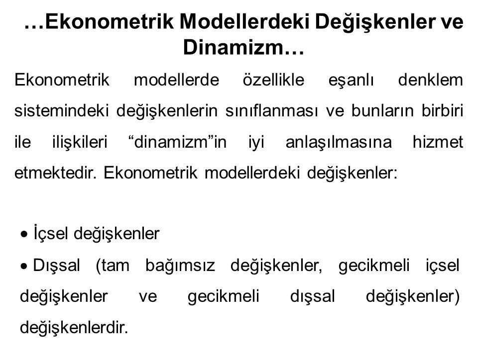 …Ekonometrik Modellerdeki Değişkenler ve Dinamizm…