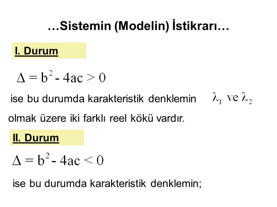 …Sistemin (Modelin) İstikrarı…