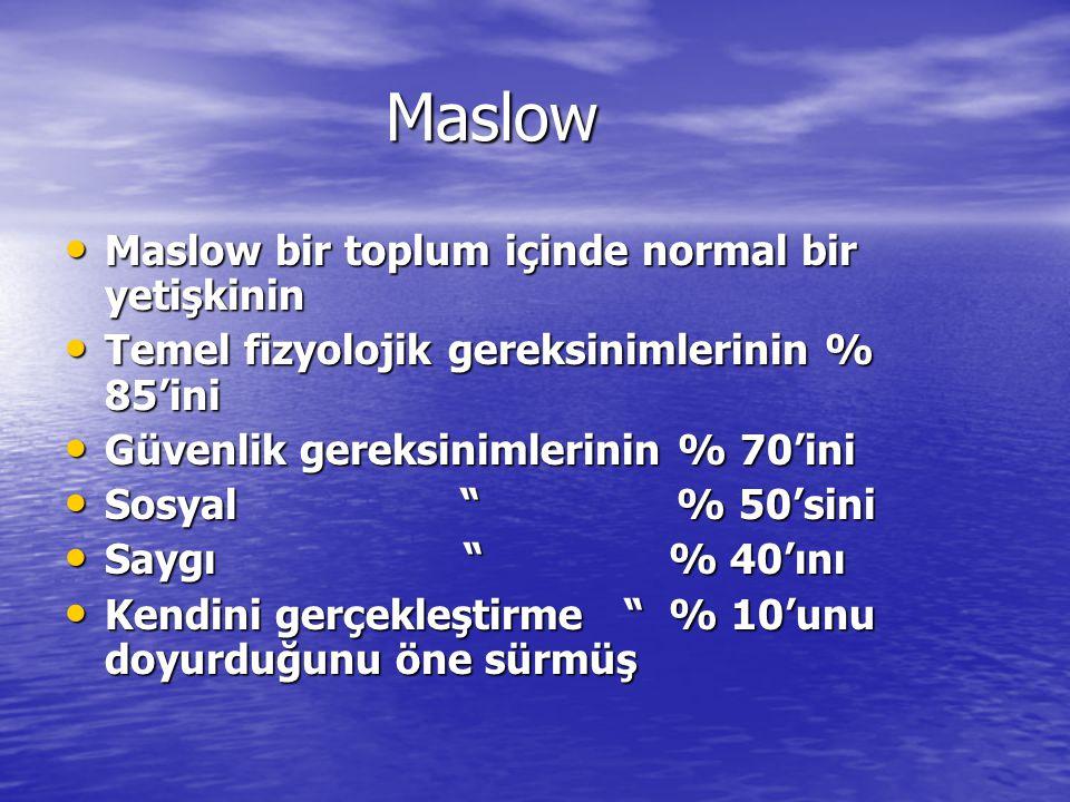 Maslow Maslow bir toplum içinde normal bir yetişkinin