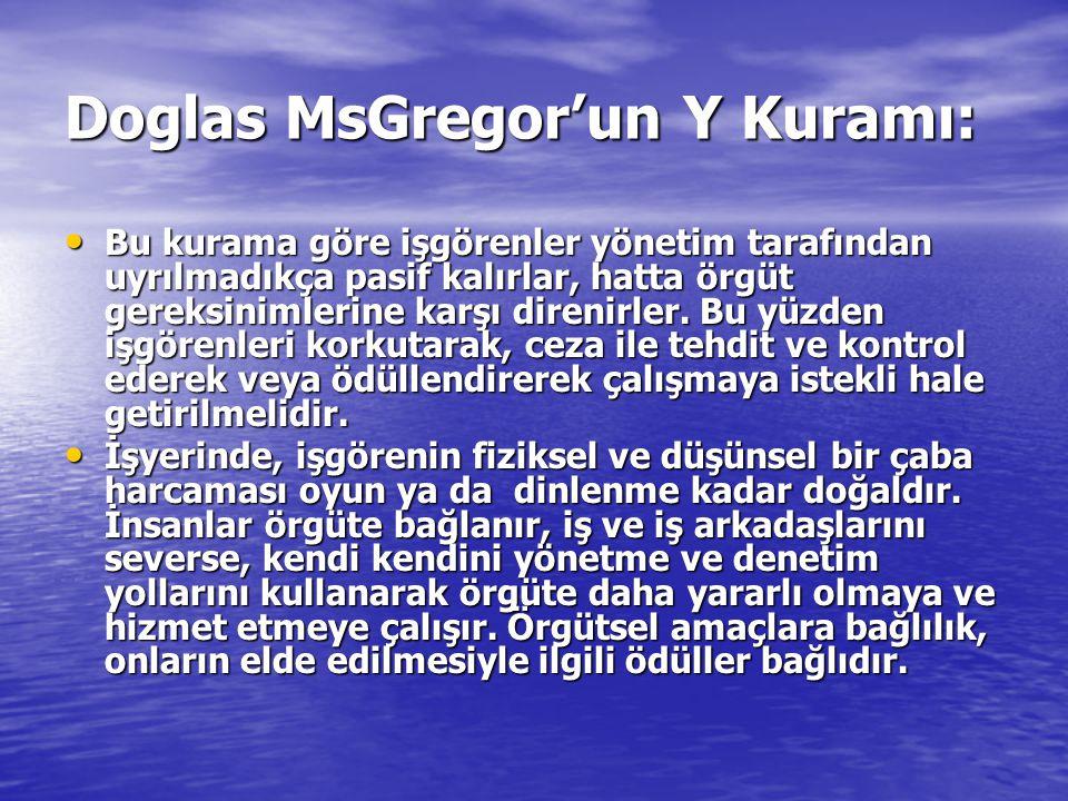 Doglas MsGregor'un Y Kuramı: