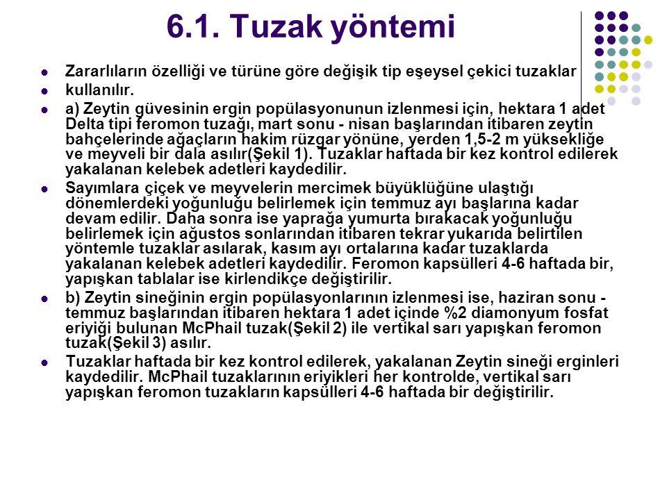 6.1. Tuzak yöntemi Zararlıların özelliği ve türüne göre değişik tip eşeysel çekici tuzaklar. kullanılır.