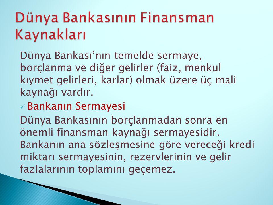 Dünya Bankasının Finansman Kaynakları