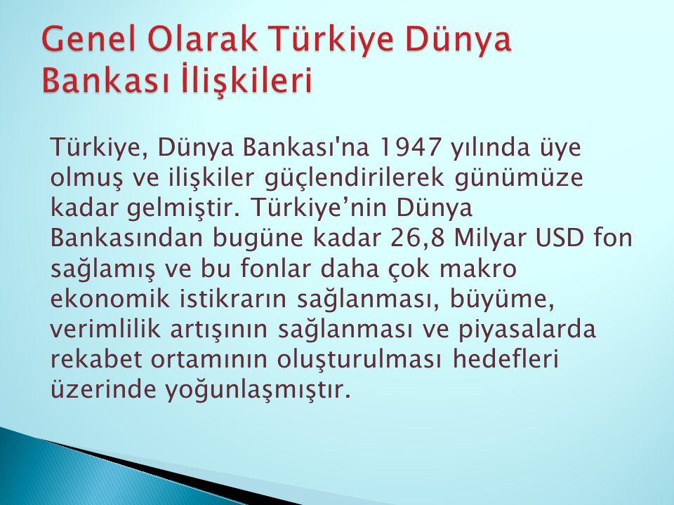 Genel Olarak Türkiye Dünya Bankası İlişkileri