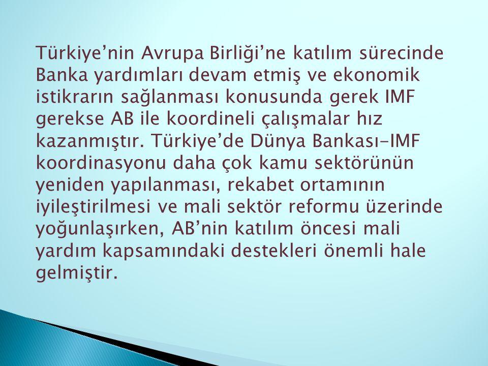 Türkiye'nin Avrupa Birliği'ne katılım sürecinde Banka yardımları devam etmiş ve ekonomik istikrarın sağlanması konusunda gerek IMF gerekse AB ile koordineli çalışmalar hız kazanmıştır.