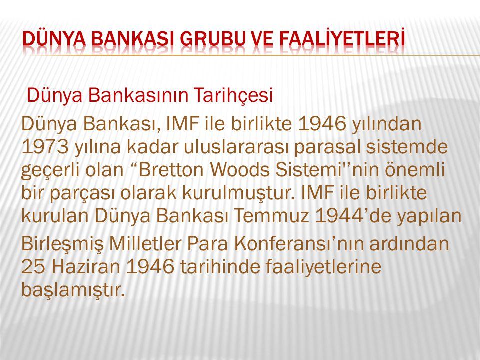 DÜNYA BANKASI GRUBU ve FAALİYETLERİ