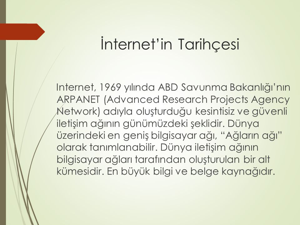 İnternet'in Tarihçesi