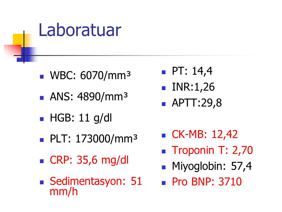 Laboratuar PT: 14,4 WBC: 6070/mm³ INR:1,26 ANS: 4890/mm³ APTT:29,8