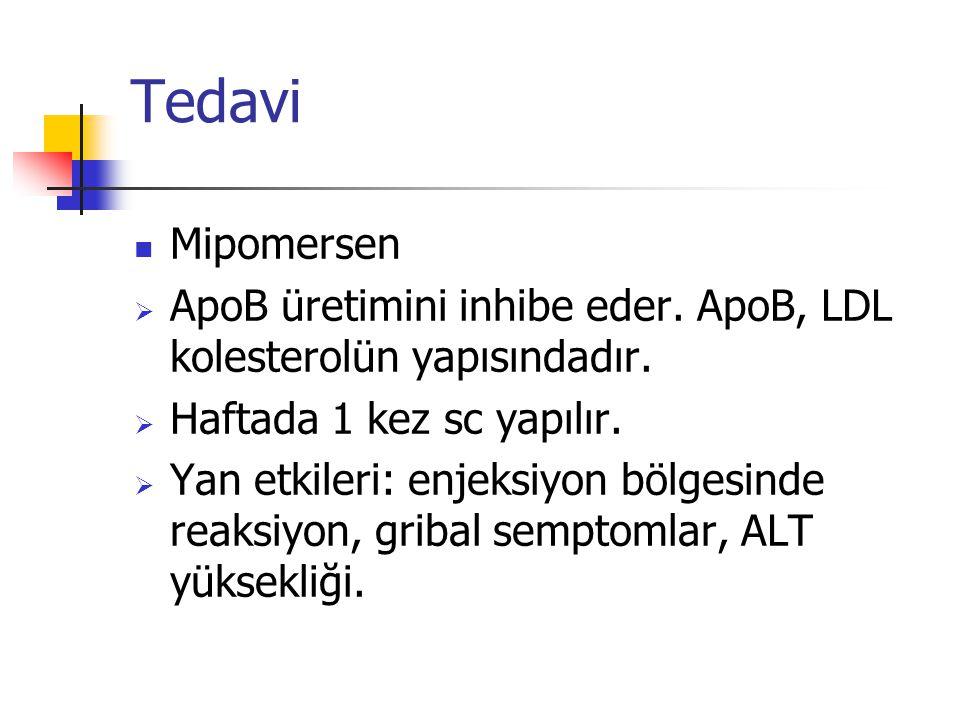 Tedavi Mipomersen. ApoB üretimini inhibe eder. ApoB, LDL kolesterolün yapısındadır. Haftada 1 kez sc yapılır.