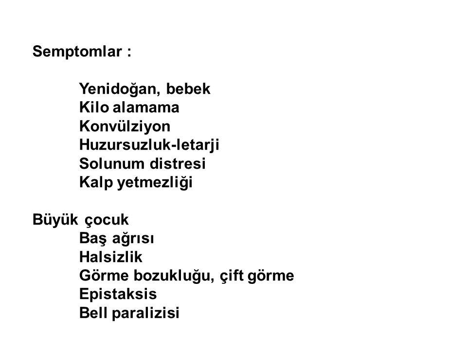 Semptomlar : Yenidoğan, bebek. Kilo alamama. Konvülziyon. Huzursuzluk-letarji. Solunum distresi.