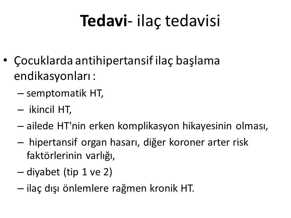 Tedavi- ilaç tedavisi Çocuklarda antihipertansif ilaç başlama endikasyonları : semptomatik HT, ikincil HT,
