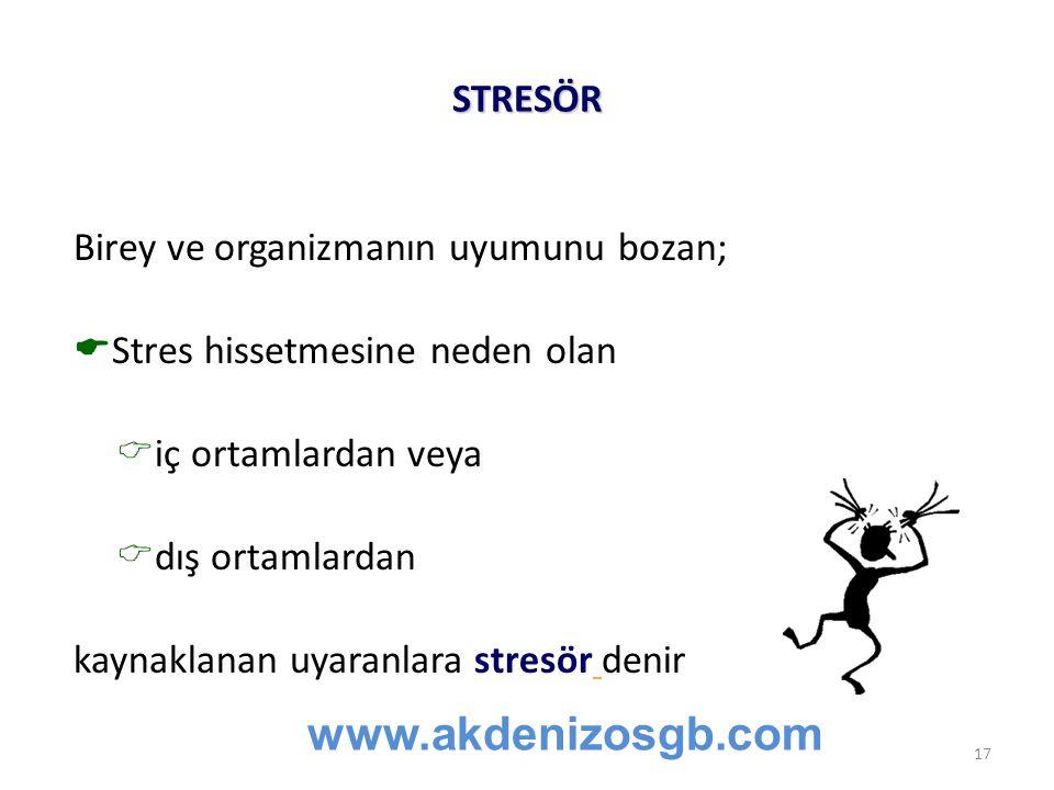 www.akdenizosgb.com STRESÖR Birey ve organizmanın uyumunu bozan;