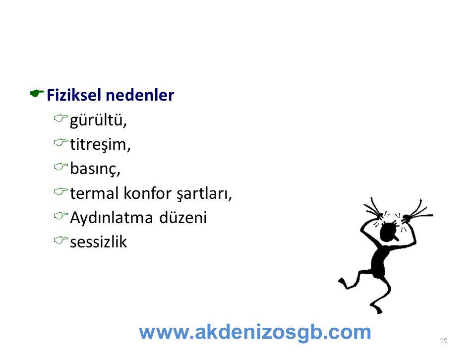 www.akdenizosgb.com Fiziksel nedenler gürültü, titreşim, basınç,