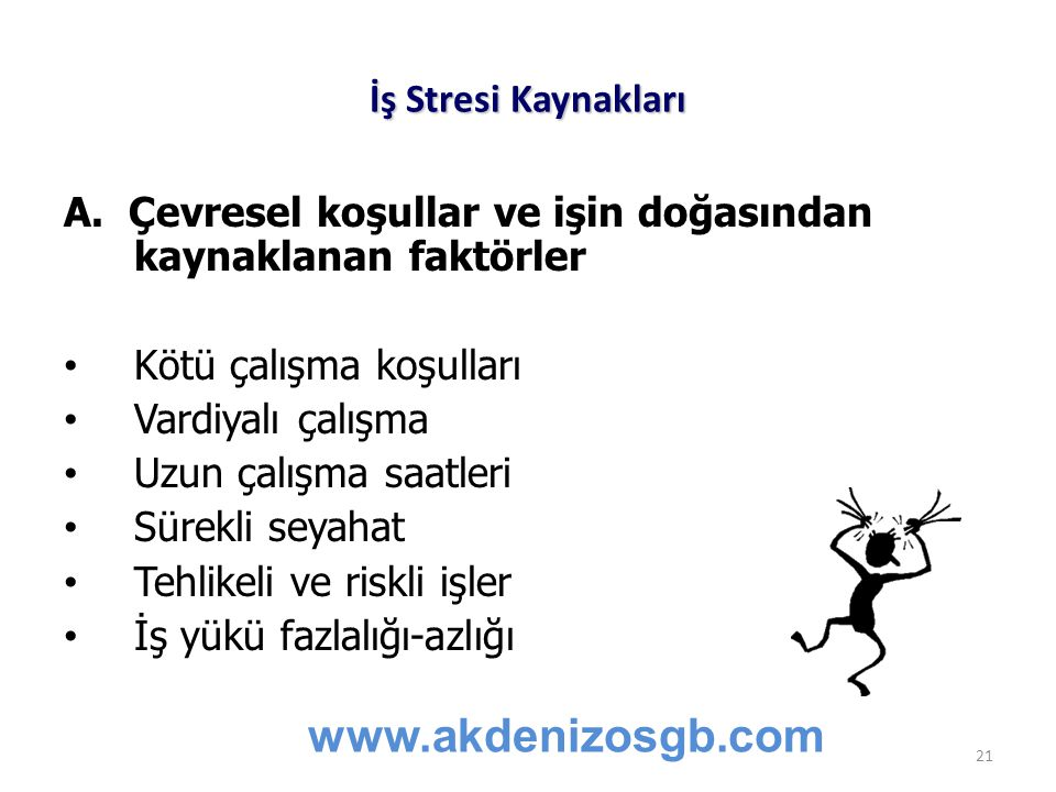 www.akdenizosgb.com İş Stresi Kaynakları