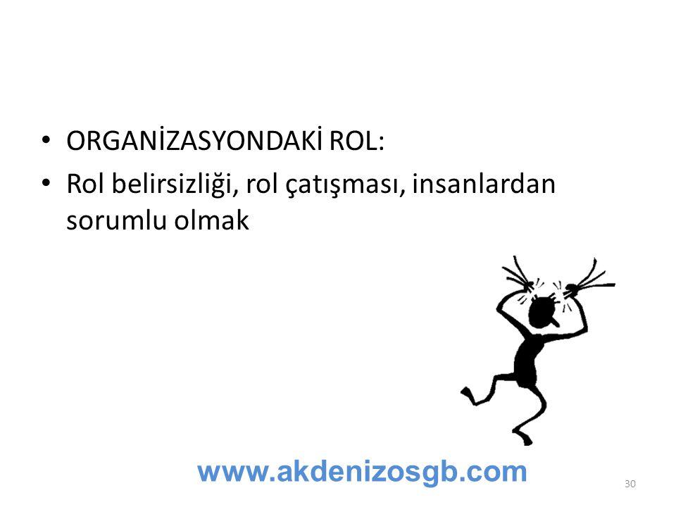 ORGANİZASYONDAKİ ROL: