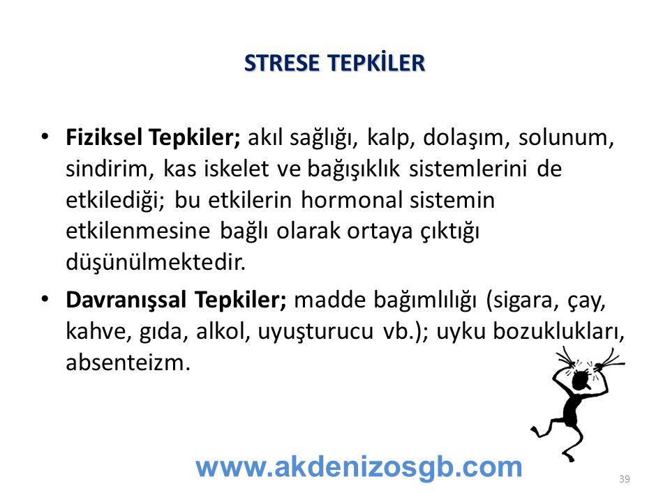 www.akdenizosgb.com STRESE TEPKİLER
