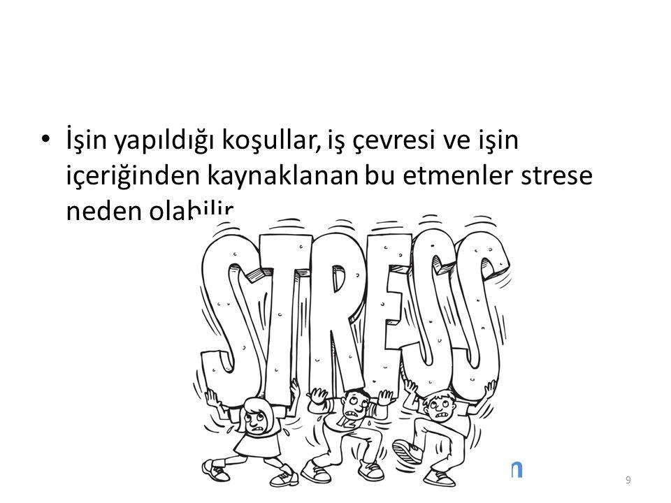 İşin yapıldığı koşullar, iş çevresi ve işin içeriğinden kaynaklanan bu etmenler strese neden olabilir.