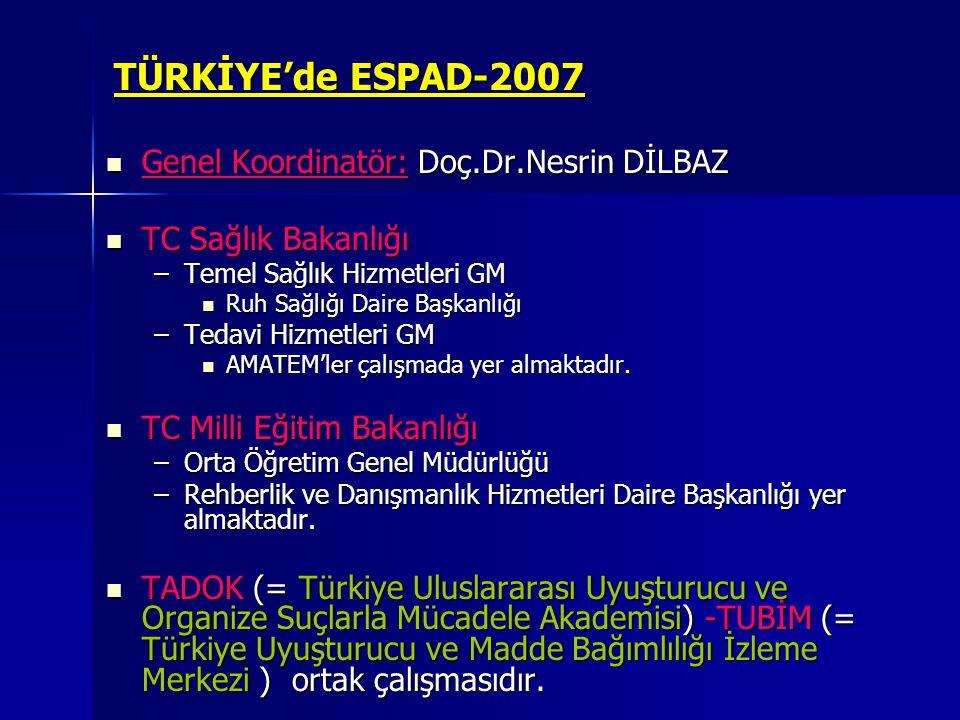 TÜRKİYE'de ESPAD-2007 Genel Koordinatör: Doç.Dr.Nesrin DİLBAZ