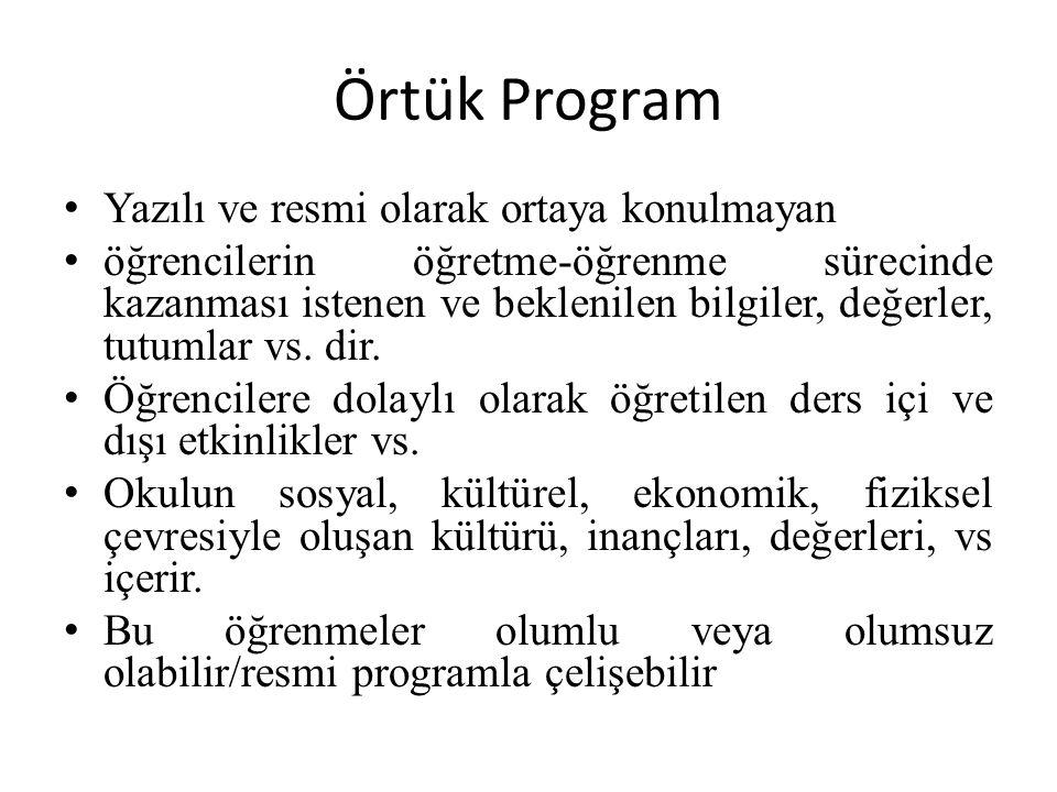 Örtük Program Yazılı ve resmi olarak ortaya konulmayan