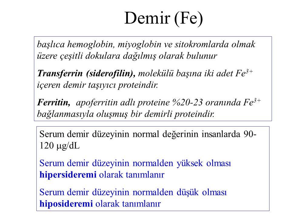 Demir (Fe) başlıca hemoglobin, miyoglobin ve sitokromlarda olmak üzere çeşitli dokulara dağılmış olarak bulunur.