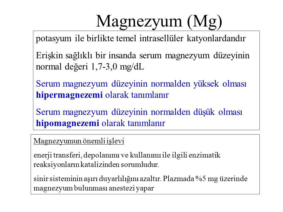 Magnezyum (Mg) potasyum ile birlikte temel intrasellüler katyonlardandır.