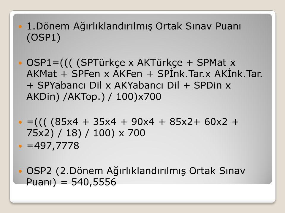 1.Dönem Ağırlıklandırılmış Ortak Sınav Puanı (OSP1)