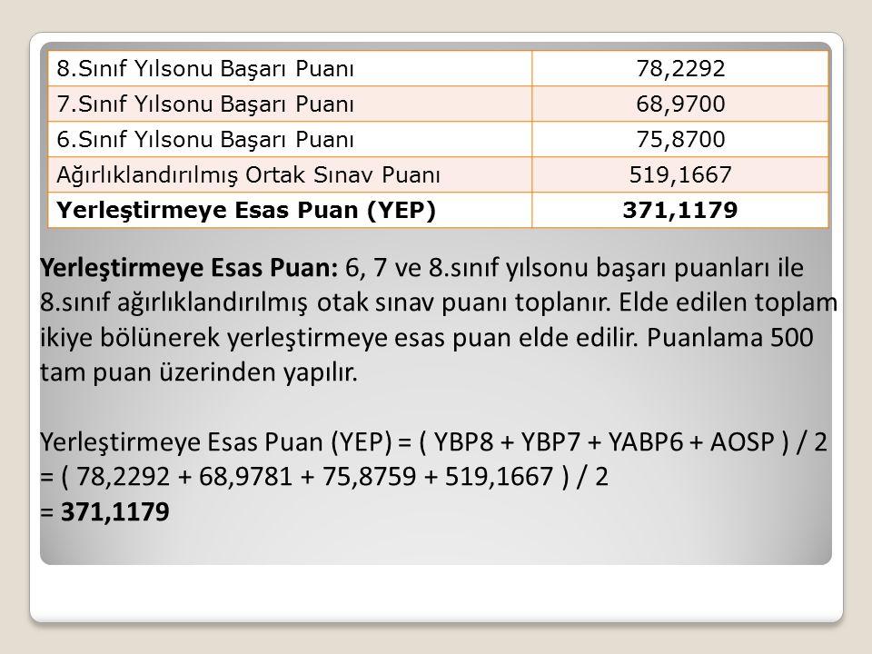 Yerleştirmeye Esas Puan (YEP) = ( YBP8 + YBP7 + YABP6 + AOSP ) / 2