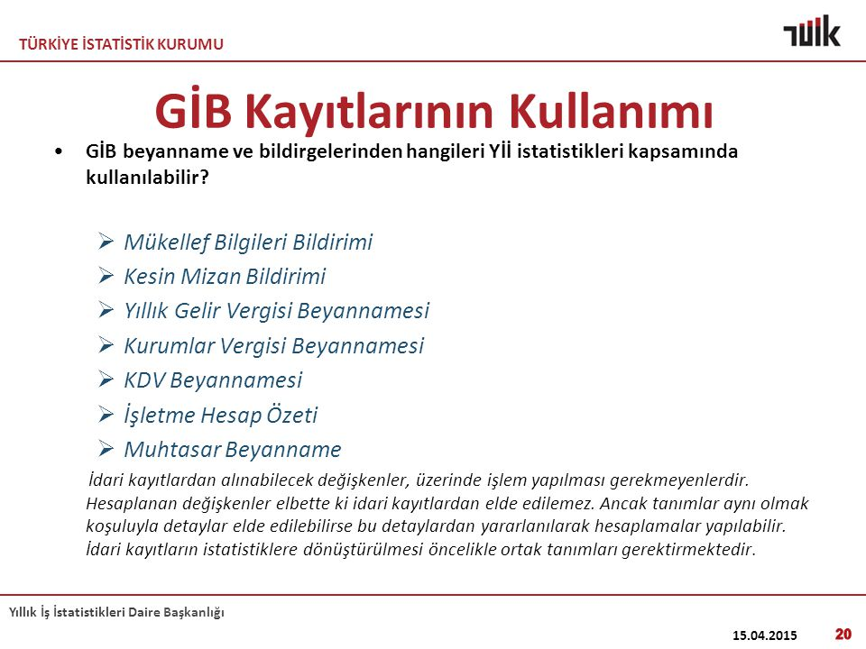 GİB Kayıtlarının Kullanımı