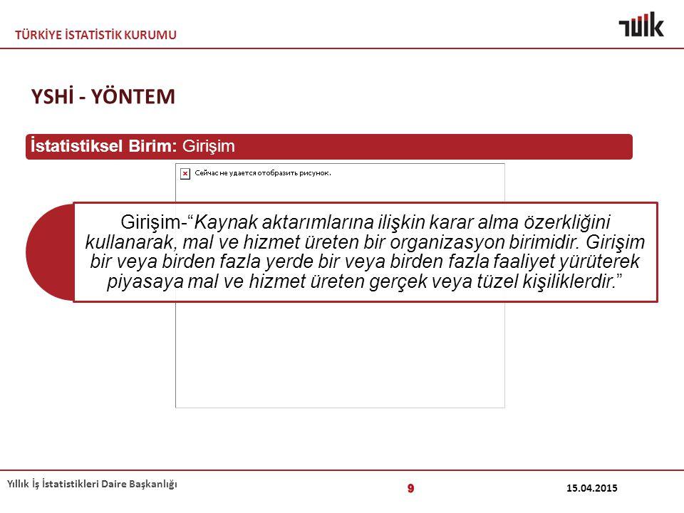 YSHİ - YÖNTEM İstatistiksel Birim: Girişim 12.04.2017