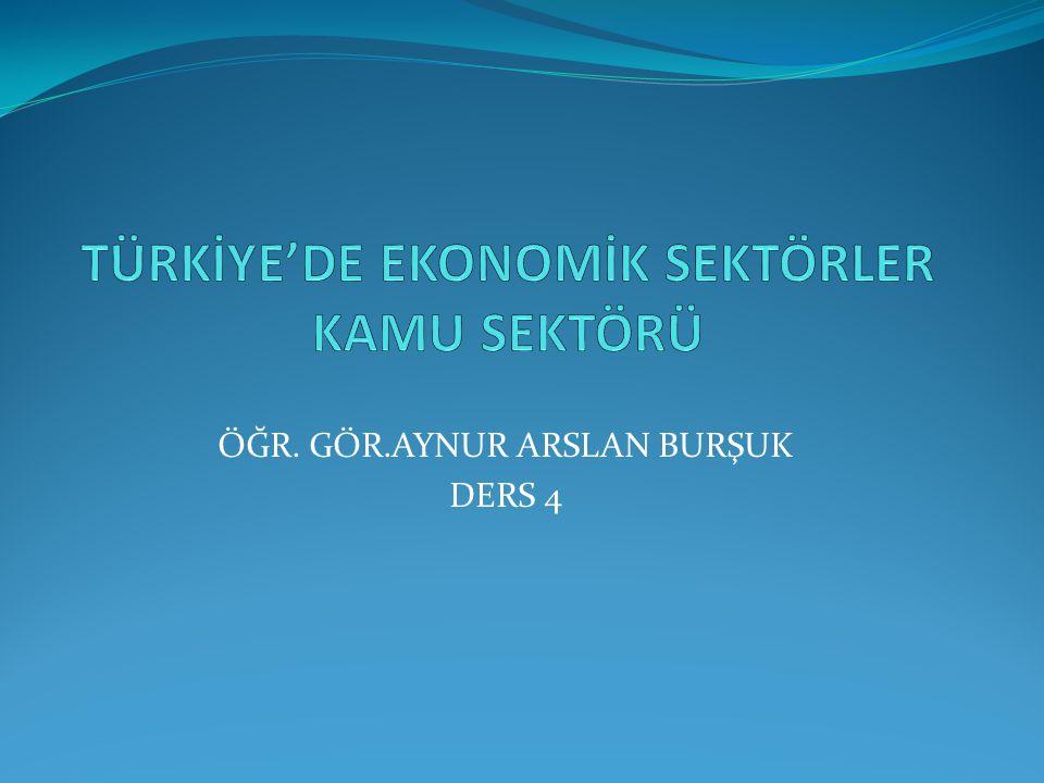 TÜRKİYE'DE EKONOMİK SEKTÖRLER KAMU SEKTÖRÜ