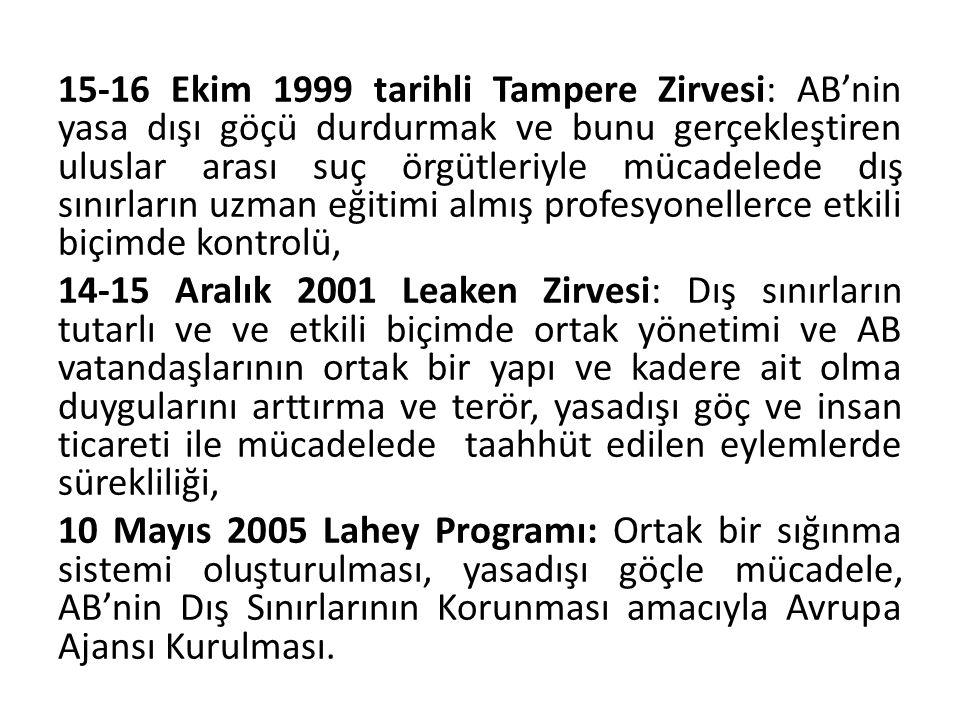 15-16 Ekim 1999 tarihli Tampere Zirvesi: AB'nin yasa dışı göçü durdurmak ve bunu gerçekleştiren uluslar arası suç örgütleriyle mücadelede dış sınırların uzman eğitimi almış profesyonellerce etkili biçimde kontrolü, 14-15 Aralık 2001 Leaken Zirvesi: Dış sınırların tutarlı ve ve etkili biçimde ortak yönetimi ve AB vatandaşlarının ortak bir yapı ve kadere ait olma duygularını arttırma ve terör, yasadışı göç ve insan ticareti ile mücadelede taahhüt edilen eylemlerde sürekliliği, 10 Mayıs 2005 Lahey Programı: Ortak bir sığınma sistemi oluşturulması, yasadışı göçle mücadele, AB'nin Dış Sınırlarının Korunması amacıyla Avrupa Ajansı Kurulması.