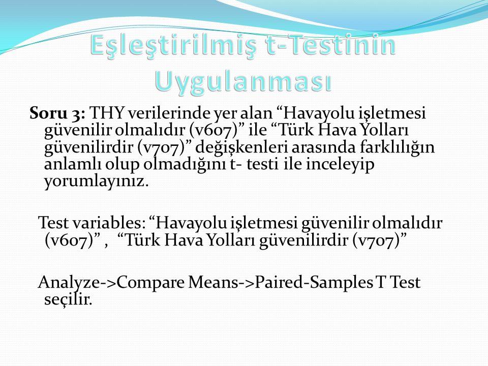 Eşleştirilmiş t-Testinin Uygulanması