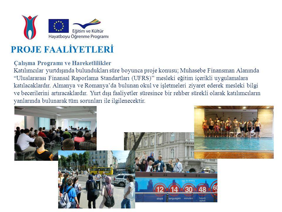 PROJE FAALİYETLERİ Çalışma Programı ve Hareketlilikler