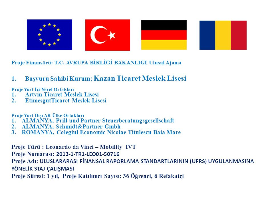 Başvuru Sahibi Kurum: Kazan Ticaret Meslek Lisesi