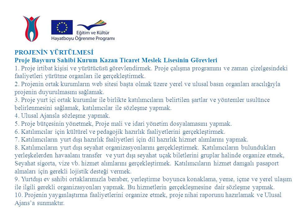 PROJENİN YÜRTÜLMESİ Proje Başvuru Sahibi Kurum Kazan Ticaret Meslek Lisesinin Görevleri.