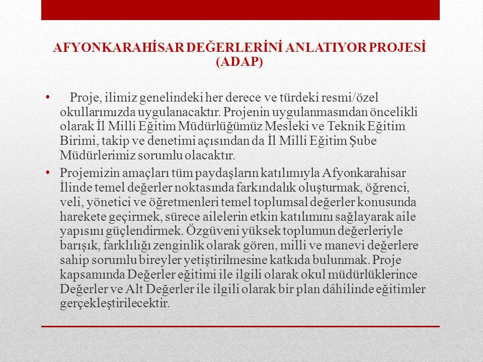 AFYONKARAHİSAR DEĞERLERİNİ ANLATIYOR PROJESİ (ADAP)