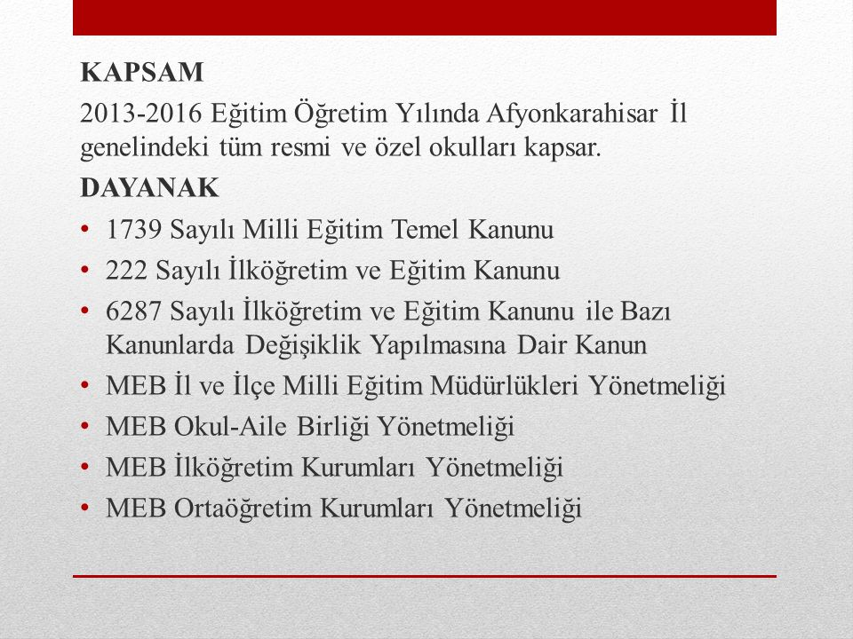 KAPSAM 2013-2016 Eğitim Öğretim Yılında Afyonkarahisar İl genelindeki tüm resmi ve özel okulları kapsar.