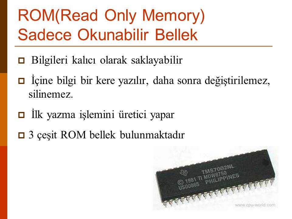 ROM(Read Only Memory) Sadece Okunabilir Bellek