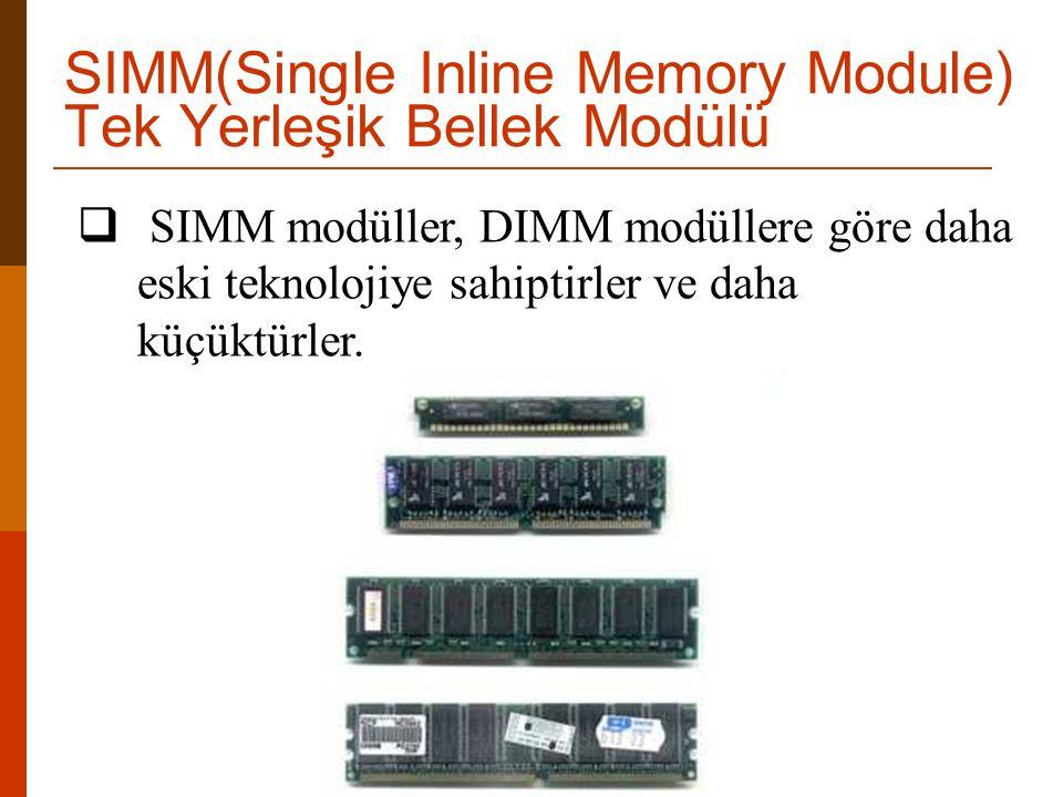SIMM(Single Inline Memory Module) Tek Yerleşik Bellek Modülü