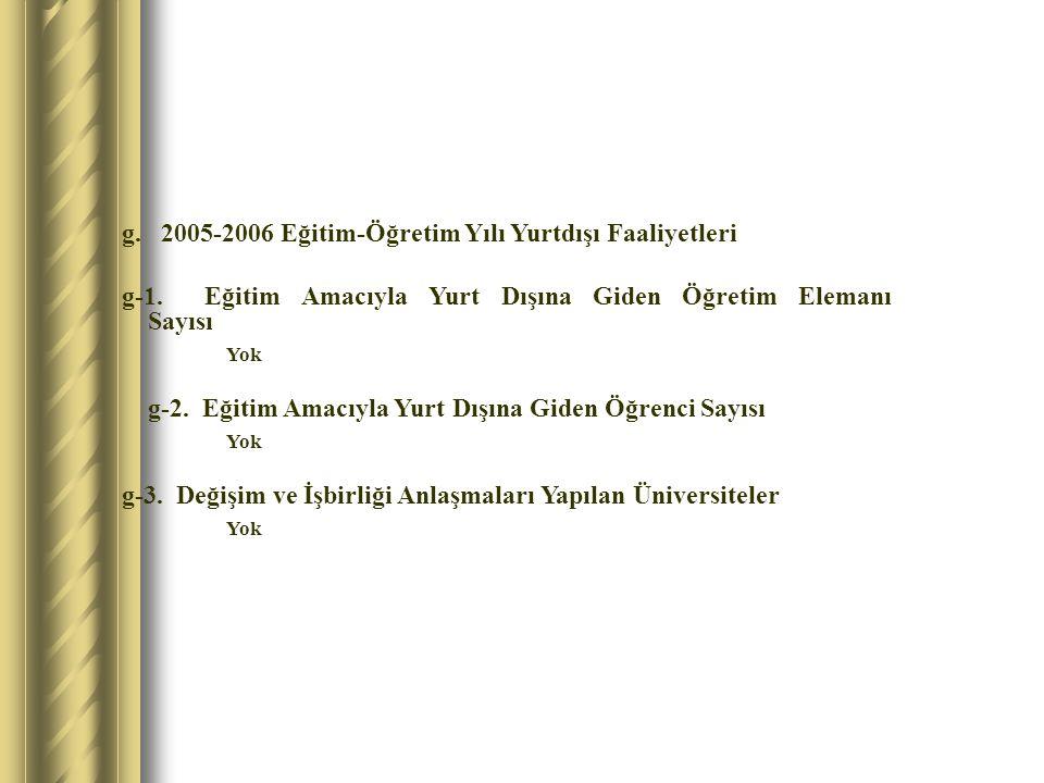 g. 2005-2006 Eğitim-Öğretim Yılı Yurtdışı Faaliyetleri