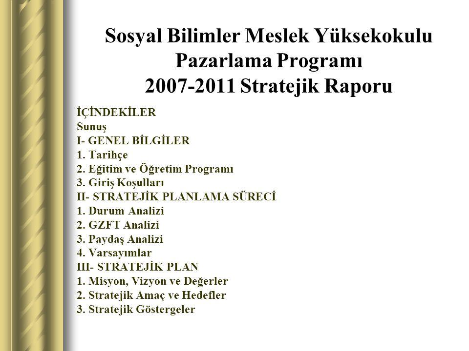 Sosyal Bilimler Meslek Yüksekokulu Pazarlama Programı 2007-2011 Stratejik Raporu