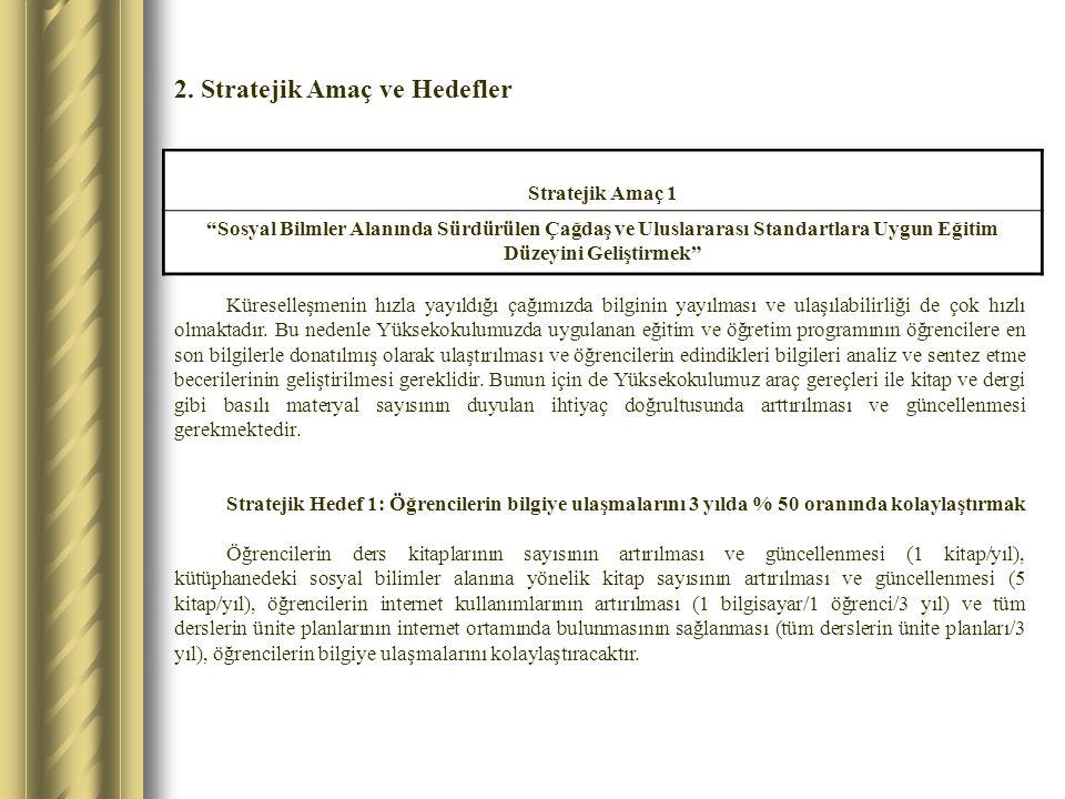 2. Stratejik Amaç ve Hedefler