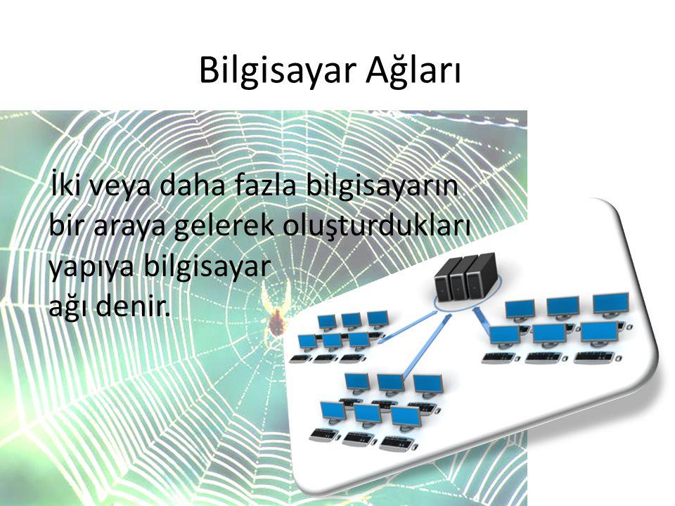 Bilgisayar Ağları İki veya daha fazla bilgisayarın bir araya gelerek oluşturdukları yapıya bilgisayar ağı denir.
