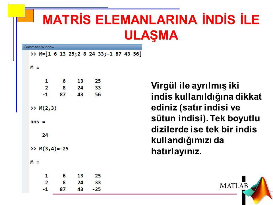 MATRİS ELEMANLARINA İNDİS İLE ULAŞMA