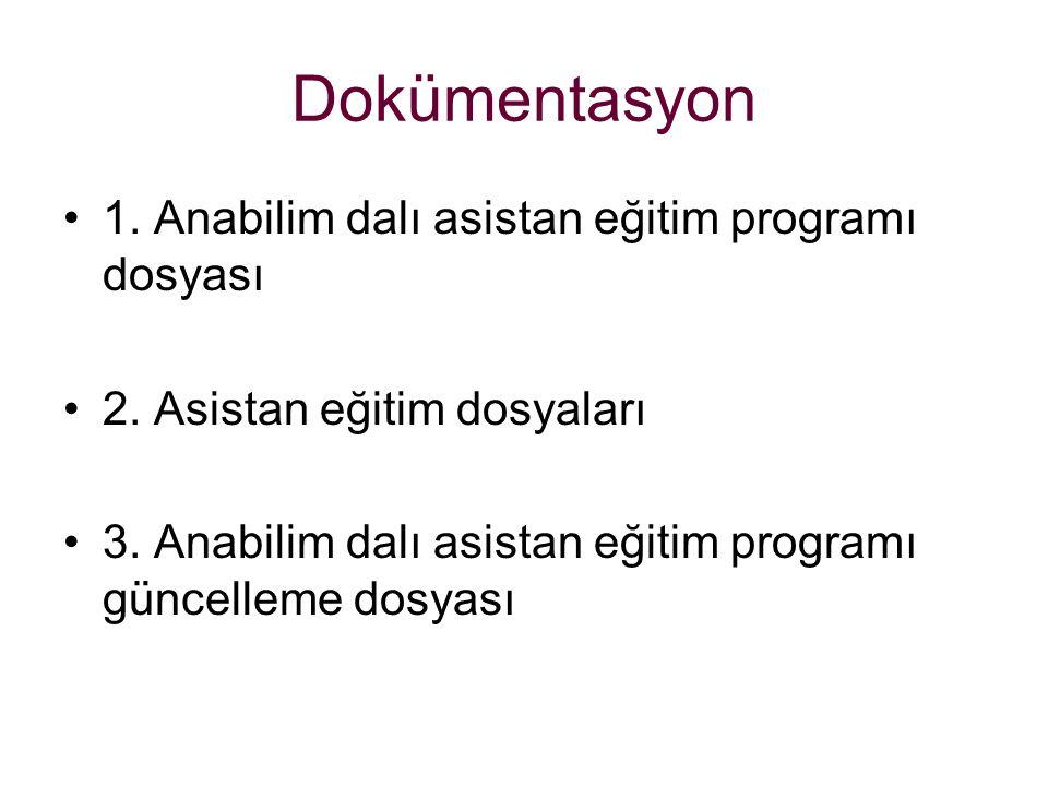 Dokümentasyon 1. Anabilim dalı asistan eğitim programı dosyası