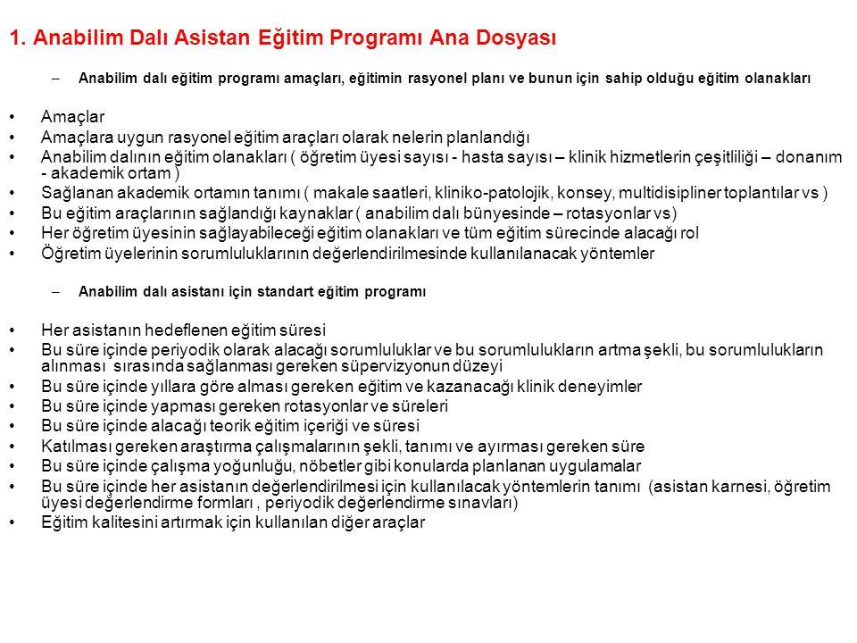 1. Anabilim Dalı Asistan Eğitim Programı Ana Dosyası